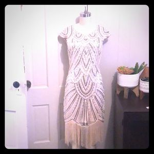Beaded fringe gatsby dress sequins